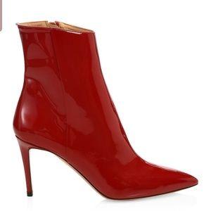 Aquazzura red patent leather boots